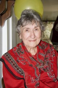 Marian Mayne on her 90th Birthday, celebrated at The Singing Gardens.